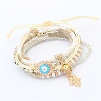 الخرز أساور مجوهرات أزياء المرأة بوهيميا الملونة الراتنج الخرز سبيكة اليد العين سحر أساور 6 قطعة مجموعة BR449 بالجملة