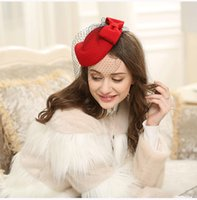 New Arrival Bridal Hair Accessories British Van Wool Hat Ret...