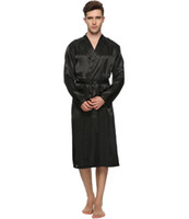 Wholesale-Men Satin Pajama Robe Longwear Bathrobe Lightweight Dressing NightGown with 4 colours