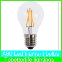E27 led filament light A60 A19 A60 bulbs E27 B22 8w 6w 4w 2w 360 Angle Led Lights Edison Lamp AC85~265V ce rohs