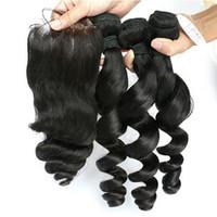 أعلى جودة فضفاض موجة الشعر الماليزية حزم الشعر البشري مع إغلاق 1PC الدانتيل 4pcs الكثير الكثير لون الشعر الطبيعي جودة عالية