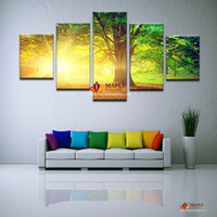 5 Panels Modern Abstract Art CanvasPrinted Sun Tree Painting...