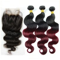 Peruvian Ombre Hair Extensions With Closure Body Wave 1PC La...