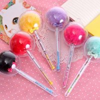 Free Shipping 5 Pcs lot Cute Balls Plush Gel Pens Writing Pe...