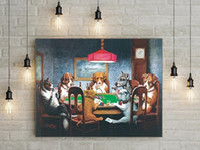 Perros enmarcados jugando a Poker 2 # Pinturas al óleo de arte de la pared de animales pintados a mano sobre lienzo para la decoración del hogar MUSEO DE CALIDAD MULTI