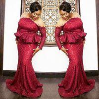 Plus la taille sud-africaine robes de bal 2018 rouge foncé à paillettes manches longues robes de soirée pure cou Peplum sirène femmes partie robes