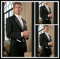 2015 черный фрак две кнопки жених смокинги пик атласная нагрудные лучший мужчина дружки мужчины свадебные костюмы жених (куртка+брюки+галстук+жилет)