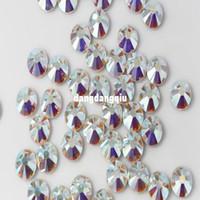 Toptan-Üst Kalite 1440PCS SS20 4.6-4.8mm Temizle AB Glitter Sigara Düzeltme Crystal AB Renk Nail Art Dekorasyon Flatback Rhinestones 20ss
