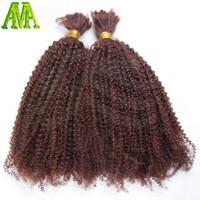 All'ingrosso-afro ricci crespi capelli sfilacciati non umani intrecciare i capelli crespo ricci crespi capelli umani brasiliani per treccia bulk non allegato