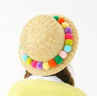 New women hand made Pom pom round straw sun hat flat top Beach Cap for lady