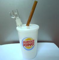 Nuevo Buger King Glass Bong Bongs Bongs Tubos de agua Plataformas de aceite Rig Ash DAB Sandblasted Starbuck Cup
