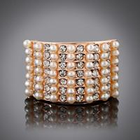 Имитация моды жемчужное кольцо с цветком ювелирные изделия 2016 напыщенные CZ Алмазный и жемчужные кольца для женщин кольцо партии