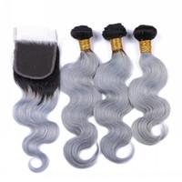 브라질 실버 그레이 Ombre 인간의 머리카락 묶어 레이스 클로저 4pcs와 함께 다크 루트 1B / 그레이 옹 브르 4x4 전면 레이스 클로저와 직물