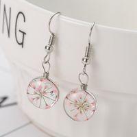 Kreativer Pflanzen-trockener Pfirsich-Blüten-Klee-Löwenzahn-Ohrring-Frauen-Schmuck-Tropfen-Ohrring-Glasball drückte Blume Dangle Earring