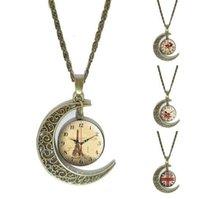 Horloge Art Image Pendentif Collier Vintage Bronze déclaration Croissant Lune Accessoire Écharpe Chaîne Collier Bijoux de mode collier