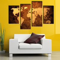 Amosi Art- 4 Pieces Old Map Wall Art Painting Print On Canvas...