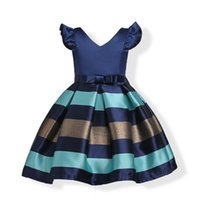 2017 childrens Gold Striped princess dresses kids party clot...