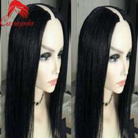 1x3 U размер отверстия U часть человеческих волос парик шелковистой прямой Glueless 100% необработанные бразильские девственные волосы U часть парики для чернокожих женщин