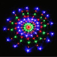 방수 RGB 거미 LED 그물 문자열 1.2 M 120 LED 다채로운 빛 크리스마스 파티 결혼식 LED 커튼 문자열 조명 Gadern 잔디 램프