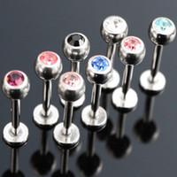 Labbro Labret bar all'ingrosso 100pcs / lot Mix 10 colori 6/8/10 / 12mm monili penetranti del corpo in acciaio inox naso anelli sopracciglio Trago bar cartilagine