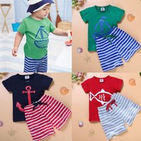 Baby Clothes Boys Cartoon Striped Casual Suits 2pcs Sailboat...