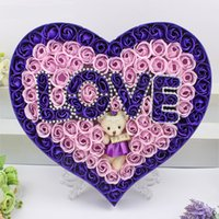 Tema de amor Baño Cuerpo Corazón Pétalo de rosa Jabón de papel Cuerpo Perfumado Jabón floral con olor a peluche Oso lindo Regalo de San Valentín