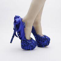 青い色のレースの結婚式の靴スパンコールのキラキラのナイトクラブポンプ美しいサテンの弓女性のプロムの靴パーティーブルードレスシューズ