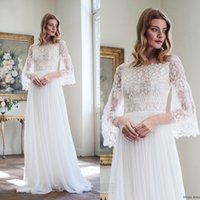 2017 Cheap Beach Bohemian Wedding Dress Sexy Lace Off Shoulder Sheer 3 4 Long Sleeve White A Line Backless Chiffon Country Bridal Gowns
