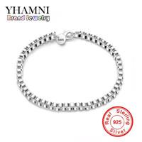 Yhamni мода три линии бусины шарм браслет 100% чистый 925 серебряная мода ювелирные изделия блеск браслет мяч H172