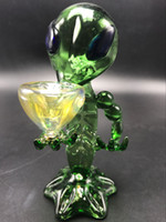 Alien Glass Pipes Glass Smoking Pipes de agua Green G Spot Oil Burner Pipe Dab Rig Tubo de tabaco soplado a mano Oil Glass Pipes para fumar