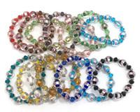 Brand new fashion jewelry bracelets 28pcs per lot mix colors glass and crystal beads adjustable bracelets drop shipping