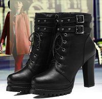 Martin boots female British style boots with chunky heel spr...