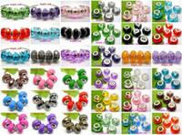 100 Teile / los Schöne mischkunstharz Charms Silber kern lose Europäischen Großes Loch Perlen für DIY Schmuck Machen Niedrigen Preis