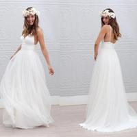 Vestidos de boda sencillos de playa con gradas de tul Vestidos de novia casual Sin espalda robe de mariee Espaguetis con cuello en v vestidos de novia