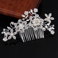 Peine del pelo de la perla de cristal Joyería nupcial del pelo de la boda Flor de perla de plata Tiaras Crown Mujeres Partido Celada Horquillas