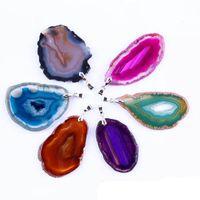 Chapado en plata Charm Natural Geode rebanadas de ágata colgante Druzy Geode ágata moda colgante de joyería