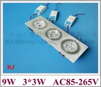 Grille LED luminaire vers le bas plafonnier lumière embarqués lumière intérieure installer 9W (3 * 3W) LED haute puissance bourrelet aluminium AC85-265V CE
