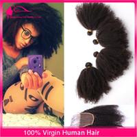 4Pcs / Lot 몽골어 버진 인간의 머리카락 4x4 레이스 클로저와 흑인 여성을위한 헤어 확장과 레이스 클로저와 Afro 변태 곱슬 머리 뭉치