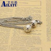 Новый посеребренные сплава металла штангой из нержавеющей стали цепи фитнес мода гантели ожерелье, Дамбель мужской подарок