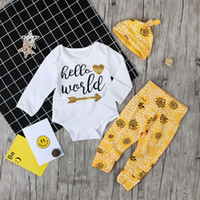 Wholesale top world hats online - 2018 Newborn Baby Girl Clothes Hello World  Long Sleeve Tops 54bd05a9c67a