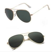 최고 품질 남자 여자 선글라스 UV400 금속 프레임 유리 렌즈 남자 여자 패션 태양 안경 파일럿 선글라스