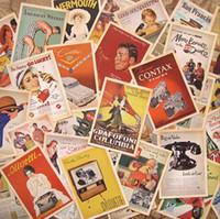 Atacado New Hot Lot de 32 Cartão Postal Vintage Cartão Postal Publicidade História Retro Frete Grátis
