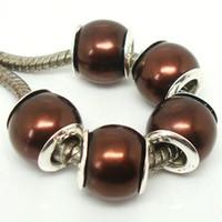 100 teile / los Schöne Dunkelbraun Nachahmung Perle Silber Core Perlen lose Europäischen Großes Loch Acryl Charm Perlen für Schmuck Machen Niedrigen Preis