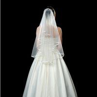 Bord de ruban de voile de mariée de deux couches avec peigne 60cm de première couche et de seconde couche de 80 cm