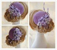 Purple Bridal Hats 100% accesorios nupciales hechos a mano Vintage Wedding Flower Hair Accessories