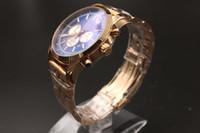Neue Ankunft Hohe Qualität Marke Quarz-Uhr Für Männer Klassische Blaue Zifferblatt Rose Gold Fall Skeleton Analog Gold Steel Band Stoppuhr