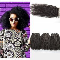 Afro Kinky Curly Virgin Hair With Bundles 3 pcs Malaysian Hu...