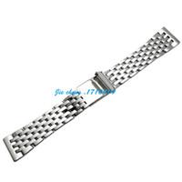 jawoder watchband 22mm 전체 광택 된 스테인레스 스틸 시계 밴드 스트랩 팔찌 액세서리 Navitimer Montbrillant 용 실버 어댑터