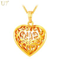 Nova Nova Moda Para Mulheres Coração Pingente Colar Atacado 18K Real Banhado A Ouro Hollow Mulheres Presente Na Moda Coração Jóias P824