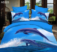 Jumping Dolphin Bedding Sets 3d Hd Bed Linen Digital Bed Set New Design 3d Bed Cover Blueocean Bedding Set 5325